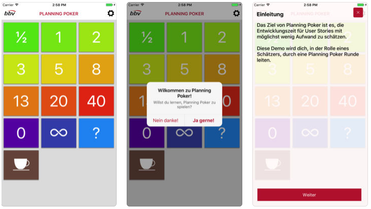 Screenshots der neuen bbv Planning Poker App