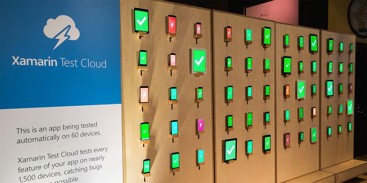 Einige Geräte der Xamarin Test Cloud.